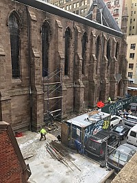 Scaffolding being erected outside of St. Sava