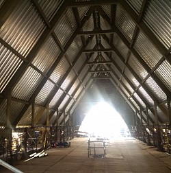 View looking north, under new roof