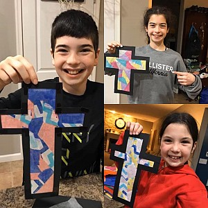 Students made stained-glass crosses at home!